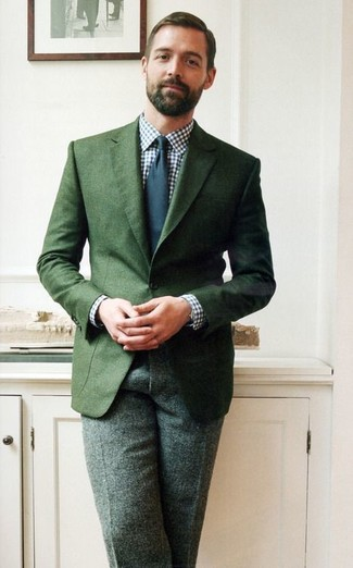 Patrick Grant wearing Dark Green Blazer, White and Navy Gingham Dress Shirt, Dark Green Wool Dress Pants, Navy Tie