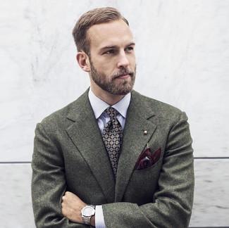 How to wear: dark green wool blazer, white vertical striped long sleeve shirt, black print tie, burgundy print pocket square