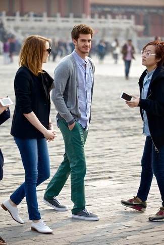 How to wear: charcoal plimsolls, dark green chinos, light blue chambray long sleeve shirt, grey cardigan