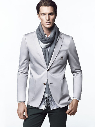 How to wear: grey scarf, dark green chinos, white vertical striped long sleeve shirt, grey blazer