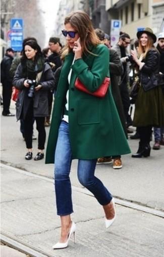 Dark green coat navy jeans white pumps large 14