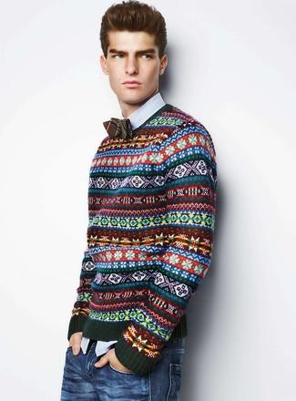 How to Wear a Dark Green Fair Isle Crew-neck Sweater (4 looks ...