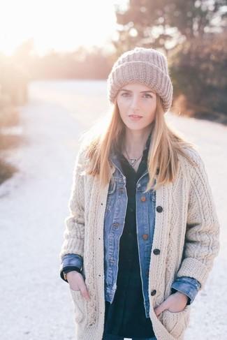 How to wear: grey knit beanie, dark green plaid dress shirt, beige knit cardigan, blue denim jacket