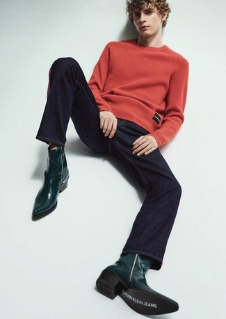 How to wear: dark green leather cowboy boots, navy jeans, red crew-neck sweater