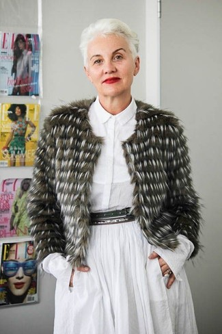 Fashion for Women Over 50: What To Wear: This combination of an olive fur jacket and a white shirtdress will allow you to flex your styling prowess.
