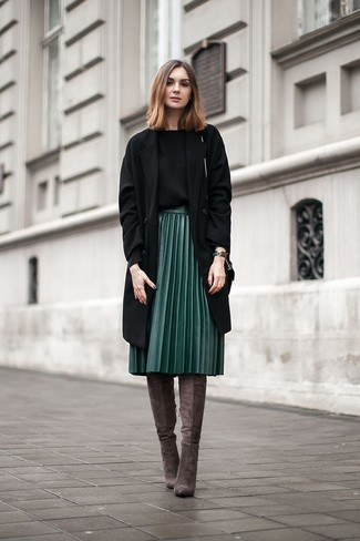 How to wear: charcoal suede over the knee boots, dark green pleated leather midi skirt, black crew-neck sweater, black coat