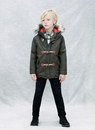 How to wear: dark green parka, dark green plaid long sleeve shirt, black jeans, black boots