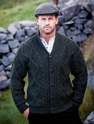 How to wear: dark green shawl cardigan, white henley shirt, burgundy corduroy jeans, grey flat cap