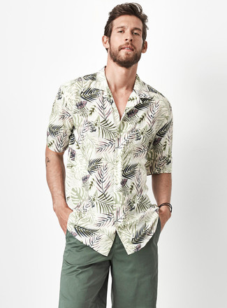 How to wear: dark green shorts, olive floral short sleeve shirt