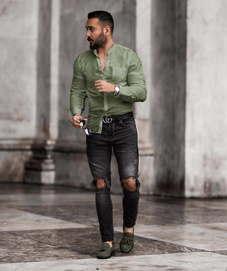 How to wear: black leather belt, dark green suede tassel loafers, black ripped skinny jeans, olive long sleeve shirt
