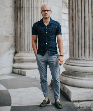 How to wear: black leather watch, dark green suede tassel loafers, grey chinos, navy print short sleeve shirt