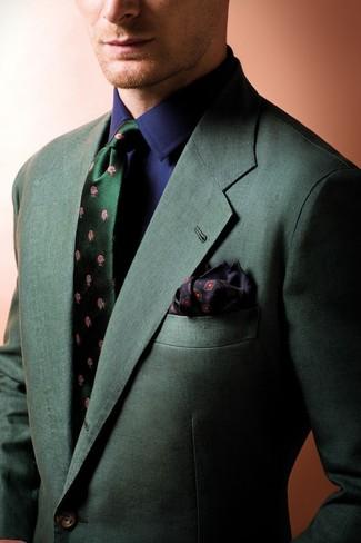 How to wear: black print pocket square, dark green floral silk tie, navy dress shirt, dark green blazer