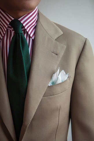 How to wear: mint pocket square, dark green knit tie, white and red vertical striped dress shirt, beige blazer