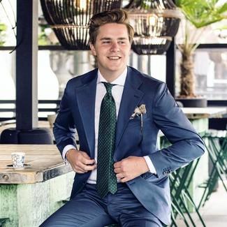 How to wear: beige print pocket square, dark green polka dot tie, white dress shirt, navy suit