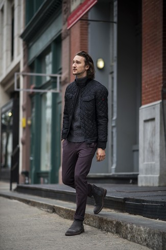 How to wear: black suede chelsea boots, dark purple chinos, charcoal knit turtleneck, black quilted bomber jacket