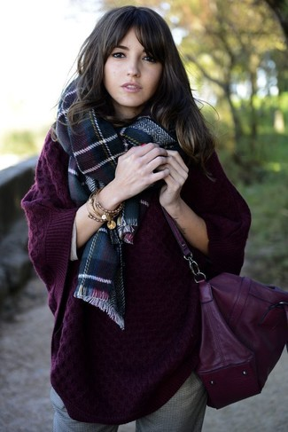 How to wear: navy and green plaid scarf, dark purple leather crossbody bag, grey tapered pants, dark purple knit oversized sweater
