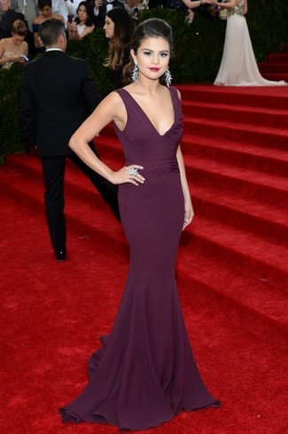 Selena Gomez wearing Dark Purple Evening Dress, Silver Earrings, Silver Ring