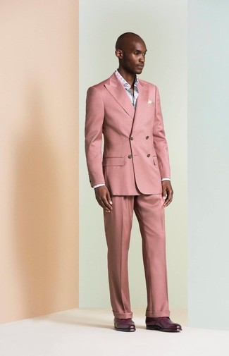 How to wear: dark purple leather derby shoes, light blue floral long sleeve shirt, pink suit