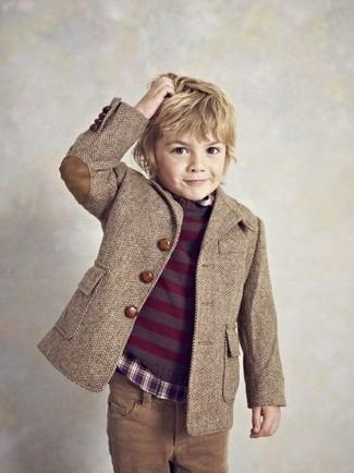 How to wear: brown jeans, dark purple long sleeve shirt, dark purple sweater, brown blazer