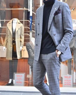 How to wear: dark brown leather watch, dark purple print pocket square, black turtleneck, grey plaid suit