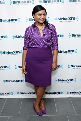 How to wear: gold necklace, dark purple suede pumps, dark purple pencil skirt, dark purple polka dot button down blouse