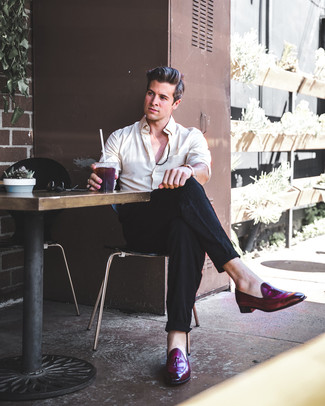 How to wear: tobacco leather watch, dark purple leather tassel loafers, black linen dress pants, beige dress shirt