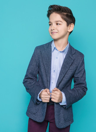 Boys' Dark Purple Trousers, Light Blue Long Sleeve Shirt, Navy Blazer