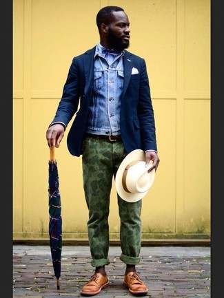 How to wear: blue denim jacket, navy wool blazer, light blue dress shirt, olive camouflage chinos