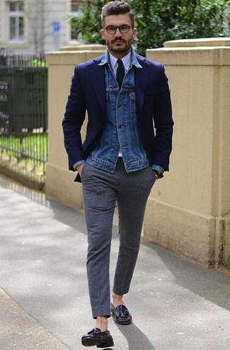 How to wear: blue denim jacket, navy blazer, white dress shirt, charcoal wool dress pants