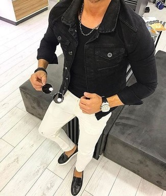 How to wear: black denim jacket, black crew-neck t-shirt, white skinny jeans, black leather tassel loafers