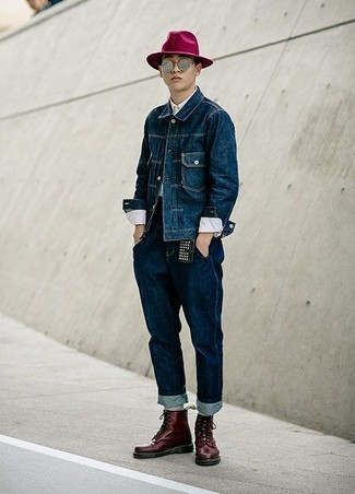How to wear: navy denim jacket, white dress shirt, navy jeans, burgundy leather casual boots