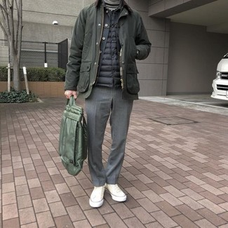 How to wear: white and black horizontal striped turtleneck, black denim jacket, black quilted gilet, olive barn jacket