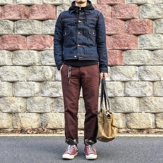 How to wear: navy denim jacket, black hoodie, brown chinos, red canvas high top sneakers