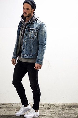 Jean Jacket With Grey Hoodie