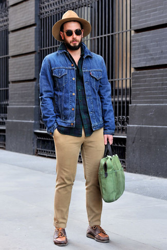 How to wear: blue denim jacket, navy and green plaid long sleeve shirt, khaki chinos, burgundy leather boat shoes