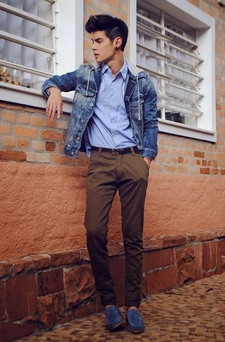 How to wear: blue denim jacket, light blue vertical striped long sleeve shirt, brown chinos, navy suede loafers