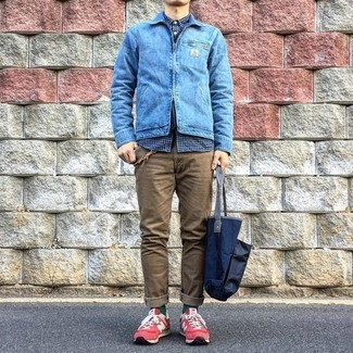 How to wear: blue denim jacket, navy gingham long sleeve shirt, brown chinos, red suede low top sneakers
