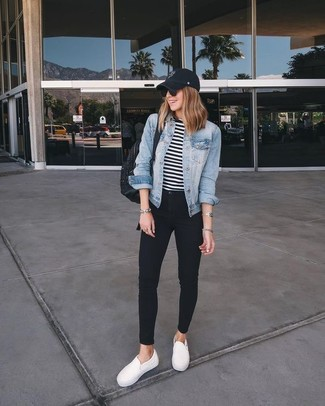 Wear a light blue denim jacket with a black cap for a casual get-up. A pair of white slip-on sneakers looks very appropriate here. As you can guess, this is also a knockout option when warmer days are here.