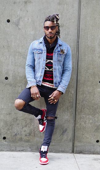How to wear: light blue denim jacket, navy fair isle shawl-neck sweater, navy ripped skinny jeans, white and red leather high top sneakers