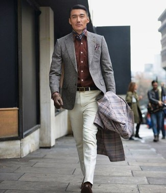 How to wear: white dress pants, brown denim shirt, grey wool blazer, grey plaid overcoat