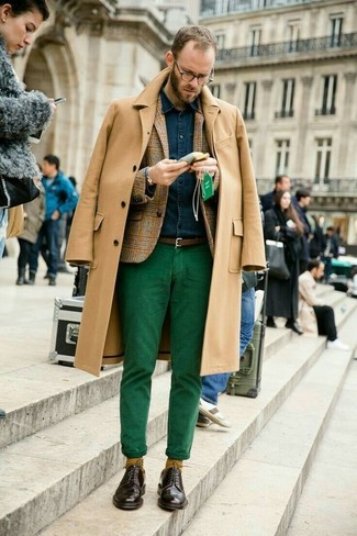 How to wear: green chinos, navy denim shirt, tan plaid wool blazer, camel overcoat