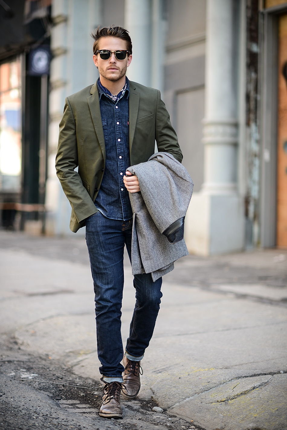 da03aca48ef How To Wear an Olive Blazer With Navy Skinny Jeans For Men (8 looks ...