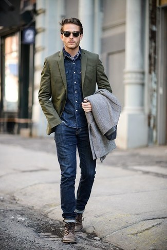 How to Wear a Bandana For Men: For something on the cool and laid-back side, opt for this pairing of a grey pea coat and a bandana. If you need to immediately step up your ensemble with one piece, introduce a pair of brown leather casual boots to the equation.