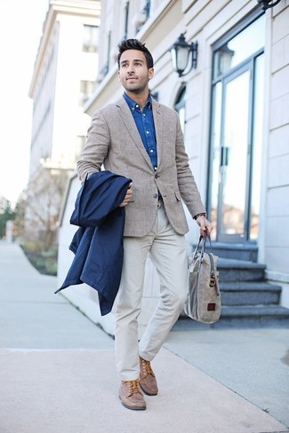 How to wear: white chinos, blue denim shirt, beige plaid blazer, navy raincoat
