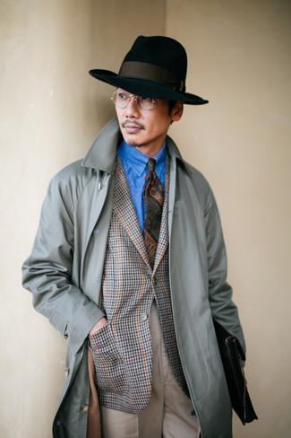 How to wear: beige dress pants, blue denim shirt, grey houndstooth blazer, grey trenchcoat