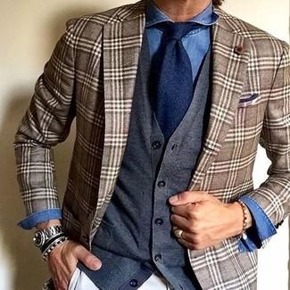 How to wear: white chinos, blue denim shirt, charcoal cardigan, brown plaid blazer