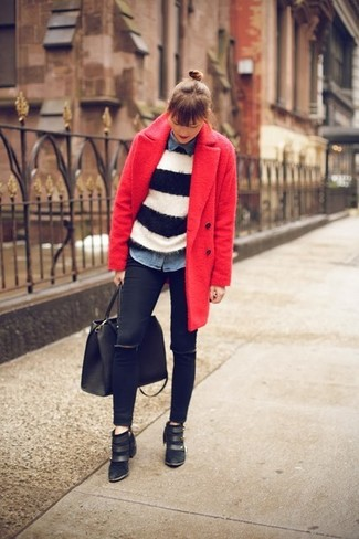 How to wear: black skinny jeans, blue denim shirt, white and black horizontal striped crew-neck sweater, red coat