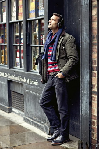 How to wear: navy jeans, navy denim shirt, red fair isle crew-neck sweater, olive field jacket