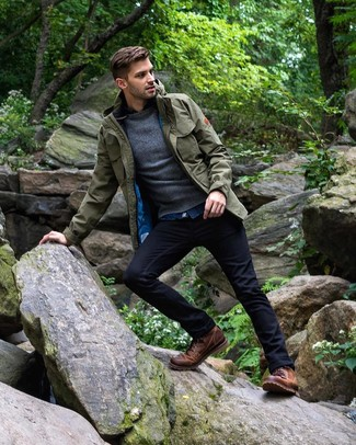 How to wear: navy jeans, blue denim shirt, charcoal crew-neck sweater, olive field jacket