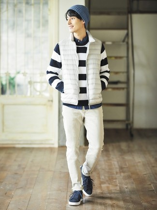 How to wear: white jeans, navy denim shirt, navy and white horizontal striped crew-neck sweater, white gilet